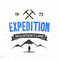 Mountain expedition label with climbing symbols vector