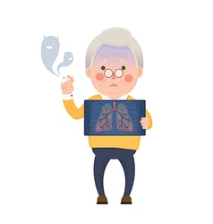 Senior man smoking lung problem vector