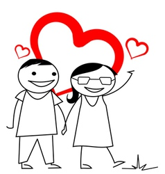 Stick couple with heart background vector image