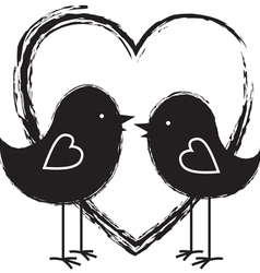two birds in the heart vector image