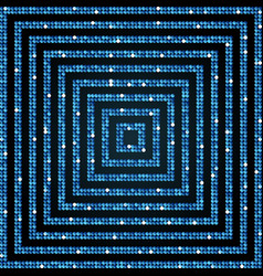 Concentric square blue mosaic sequin glitter vector