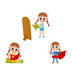 flat cartoon kid doing routine activity set vector image vector image