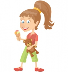 girl with ice-cream vector image vector image