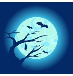 Halloween night background with dry tree and bats vector image vector image