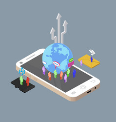 isometric people chatting to other through vector image vector image