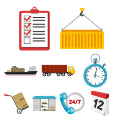 logistic set icons in cartoon style big vector image