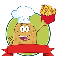 Potato Chef Holding Fries Banner vector image vector image