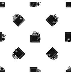 purse with money pattern seamless black vector image vector image