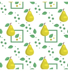 Seamless pattern with green pears and leaves vector image