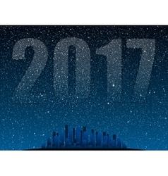 Stars sky night Silhouette city 2017 vector image vector image
