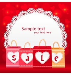 Valentines day shopping bag lacy card vector image