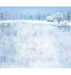 Winter lake house vector