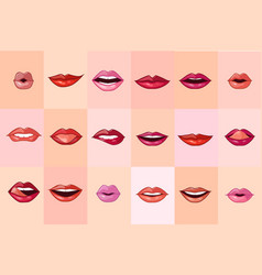 beautiful female mouth set red lips with with vector image