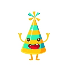 Blue And Yellow Stripy Party HatHappy Birthday vector image vector image