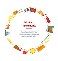 cartoon musical insrtuments banner card circle vector image