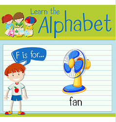 Flashcard letter f is for fan vector