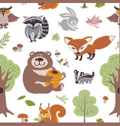 forest summer plants and woodland animals vector image vector image