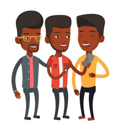 three smiling friends looking at mobile phone vector image vector image