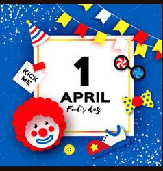 1 april fools day funny clown red wig kick me vector image