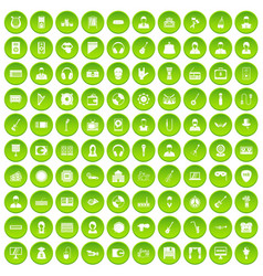 100 music icons set green vector