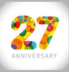 27 years anniversary circle colorful logo vector image