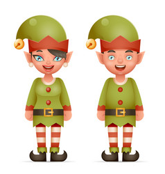 3d realistic cartoon elf boy and girl characters vector image
