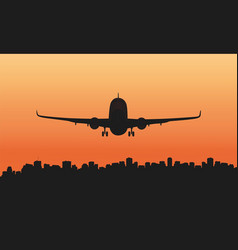 a passenger plane and a big city vector image