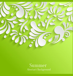 Abstract Summer Green Background with 3d Floral vector image