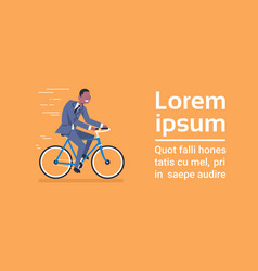 african american business man in suit ride bicycle vector image