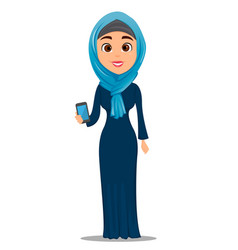 Arabic woman holding smartphone cute vector