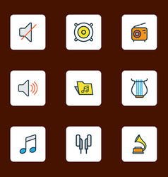 audio icons colored line set with speaker radio vector image