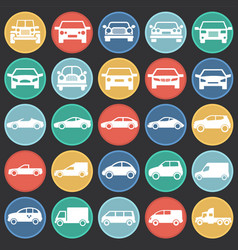 automobile icons set on color circles black vector image