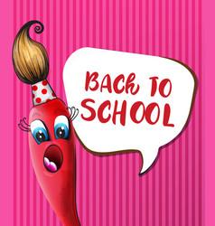 back to school brush cartoon character vector image