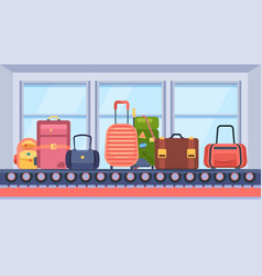 baggage on conveyor belt suitcase travel bags vector image