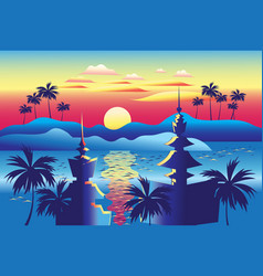 beautiful tropical landscape with palm trees vector image