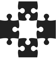 black white puzzle pieces - jigsaw vector image