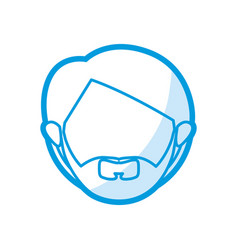 Blue color contour of head faceless of man with vector