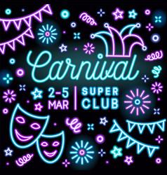 bright neon carnival party invitation card vector image