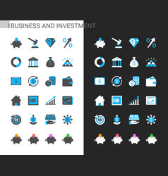 business and investment icons light and dark theme vector image