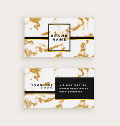 Business card design in gold marble texture vector
