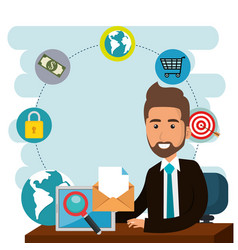 Businessman in the office with e-mail marketing vector