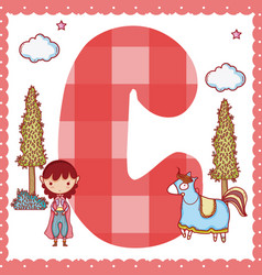 C alphabet letter for kids vector
