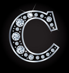 C letter made with diamonds isolated on vector