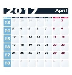 Calendar 2017 April design template Week vector image