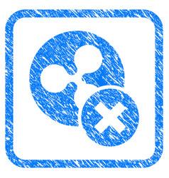 Cancel ripple framed stamp vector