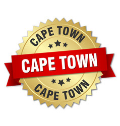 Cape town round golden badge with red ribbon vector