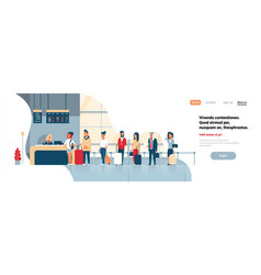 check in registration airport group mix race vector image