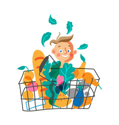 Child with shopping basket flat character vector