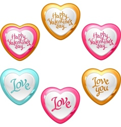 Collection of icons with a shiny glossy hearts vector image