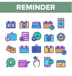 Collection reminder elements icons set vector